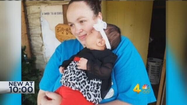 Jessica Campos, pictured with her child, was killed in the police chase.